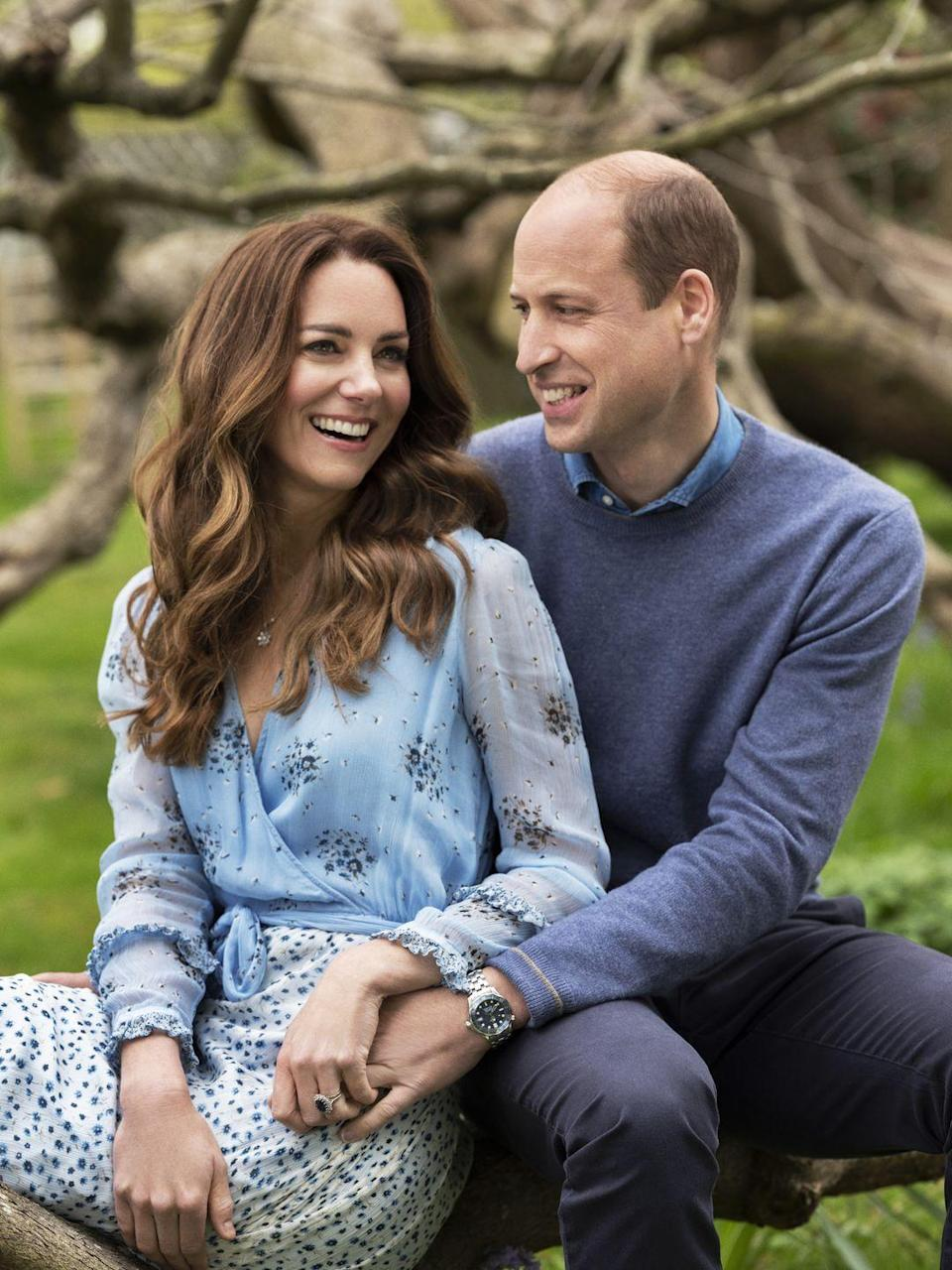 "<p><a href=""https://www.townandcountrymag.com/style/jewelry-and-watches/a13052347/kate-middleton-engagement-ring/"" rel=""nofollow noopener"" target=""_blank"" data-ylk=""slk:Kate's famous engagement ring"" class=""link rapid-noclick-resp"">Kate's famous engagement ring</a>, which originally belonged to Princess Diana, was featured prominently in the photos. </p>"