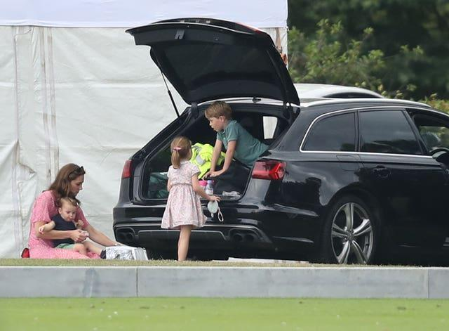 The Duchess of Cambridge with her children at the polo in 2019