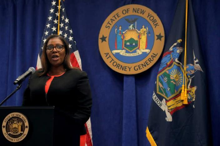 FILE PHOTO: New York State Attorney General, Letitia James, speaks during a news conference, to announce a suit to dissolve the National Rifle Association, In New York