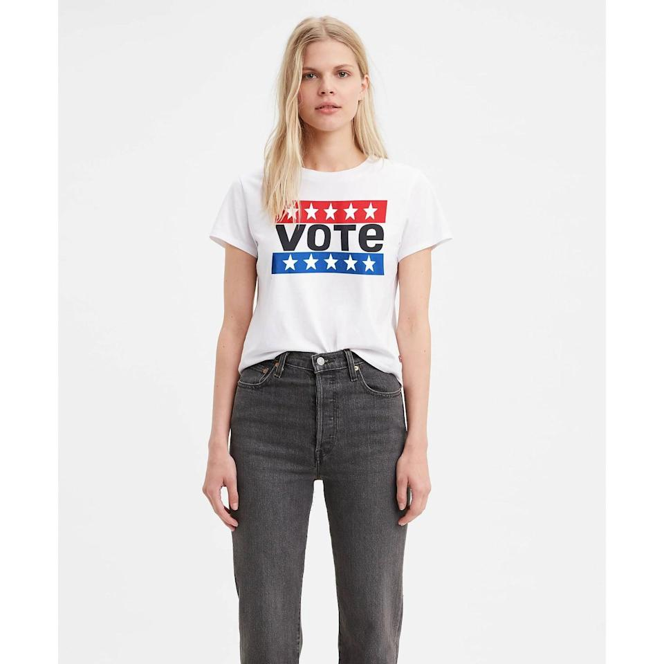 """<p>""""Just like on POPSUGAR, we are encouraging anyone who can vote to register and make sure they get out there and vote this year. Wearing <span>Levi's Graphic Surf Vote T-Shirt</span> ($25) will be a friendly reminder to all who see me at the time."""" - Lisa Sugar, president, POPSUGAR</p>"""