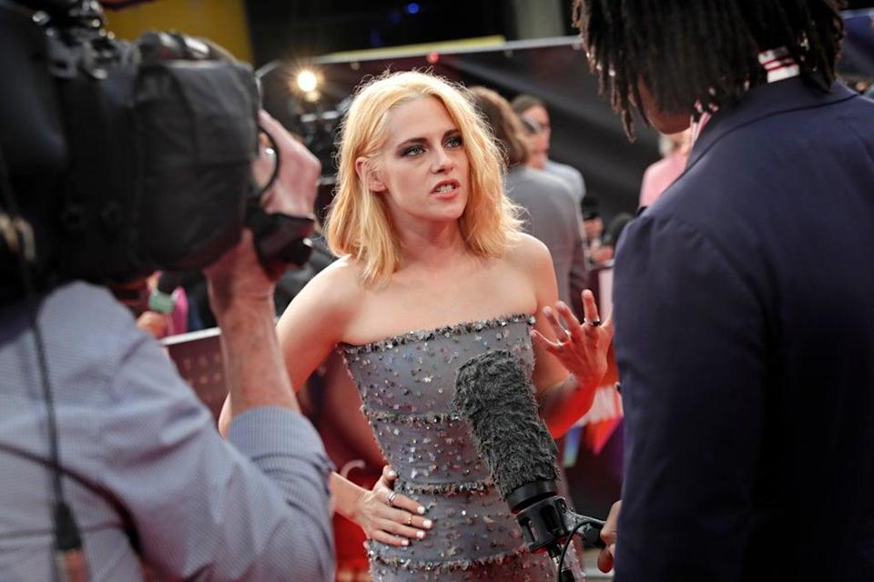 Kristen Stewart is interviewed by the press on the red carpet (Getty Images for BFI)