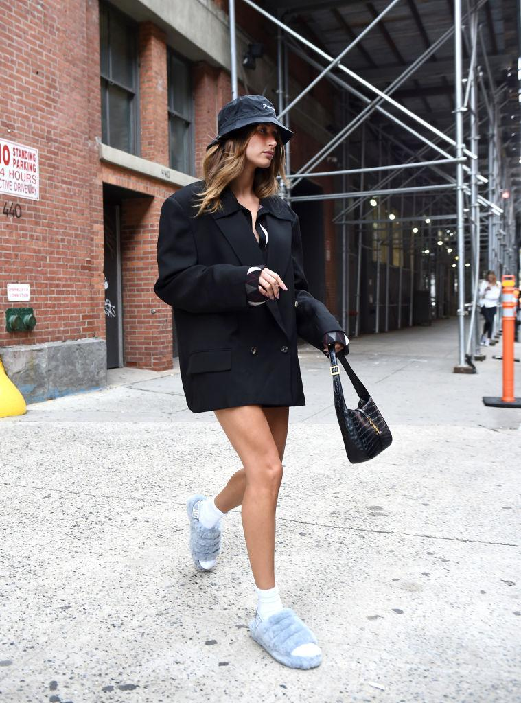 Hailey Bieber is seen wearing a $130 Jacquemus bucket hat and Ugg slippers New York City. (Photo by Ilya S. Savenok/GC Images)