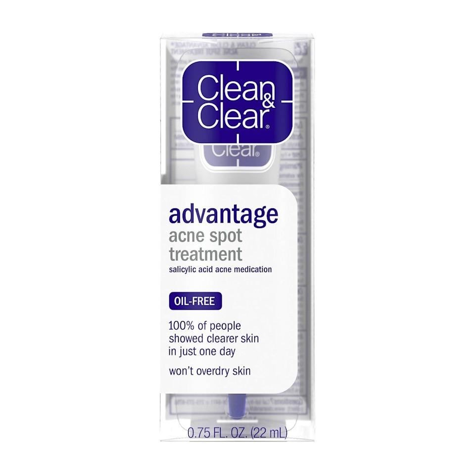 <p>Simply dab a little bit of the <span>Clean &amp; Clear Advantage Spot Treatment With Witch Hazel</span> ($8) onto an active breakout, and watch it start to disappear before your eyes. </p>