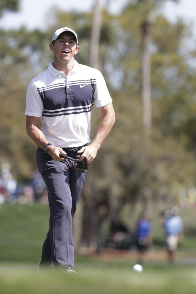 FILE - In this file photo dated Thursday, March 12, 2020, Rory McIlroy of Northern Ireland, reacts to a missed putt on the third hole, during the first round of The Players Championship golf tournament in Ponte Vedra Beach, USA. European captain Padraig Harrington said Friday May 15, 2020, that golf might have to take one for sport and stage the Ryder Cup without fans at Whistling Straits in September, accepting that it will be diminished because of the coronavirus pandemic. One of the biggest names in golf, McIlroy has been among a growing band of players to have asked out loud: Whats the point in a Ryder Cup without fans? (AP Photo/Lynne Sladky, FILE)