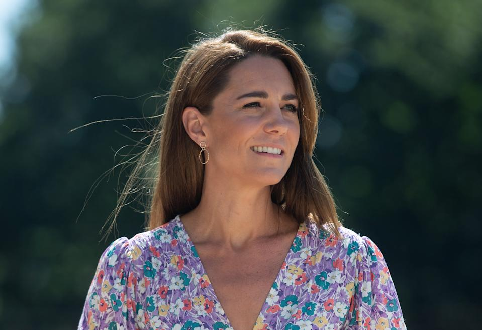 FRAMLINGHAM EARL, UNITED KINGDOM - JUNE 25:  Catherine, Duchess of Cambridge during a visit to The Nook in Framlingham Earl, Norfolk, which is one of the three East Anglia's Children's Hospices (EACH) on June 25, 2020 in Framlingham Earl, United Kingdom. (Photo by Joe Giddens - WPA Pool/Getty Images)
