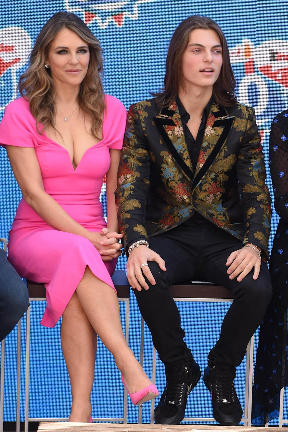 UK actress Elizabeth Hurley and her son Damian Hurley during the 50th anniversary celebration of the brand Kinder at Heidepark on October 14, 2018 in Soltau, Germany