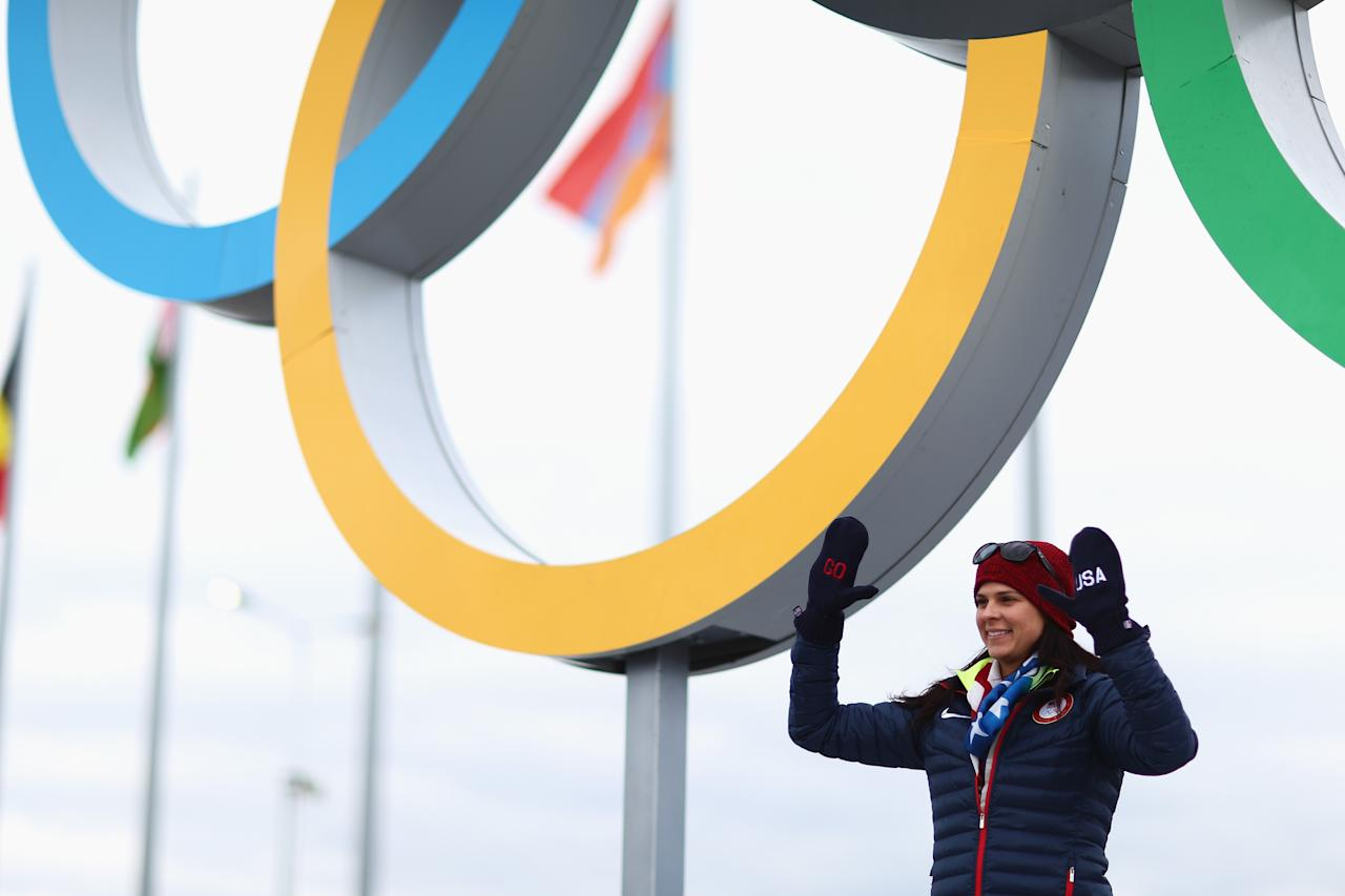 SOCHI, RUSSIA - FEBRUARY 05: Speed skater Brittany Bowe of the United States poses in front of the Olympic rings ahead of the Sochi 2014 Winter Olympics at the Olympic Park on February 5, 2014 in Sochi, Russia. (Photo by Clive Mason/Getty Images)