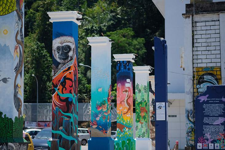 The colourful pillars bring new life to this space which was left abandoned for a long time.