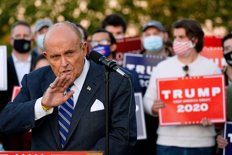 Rudy Giuliani, a lawyer for President Donald Trump, speaks during a news conference on legal challenges to vote counting in Pennsylvania on Nov. 4 in Philadelphia.