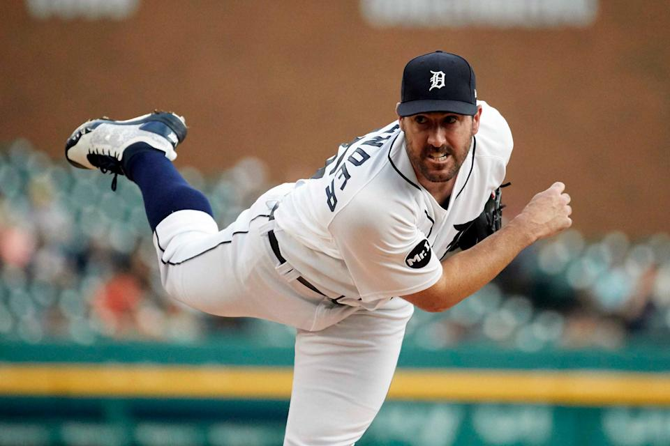 Tigers' Justin Verlander pitches in the first inning against the Rays at Comerica Park on June 15, 2017.