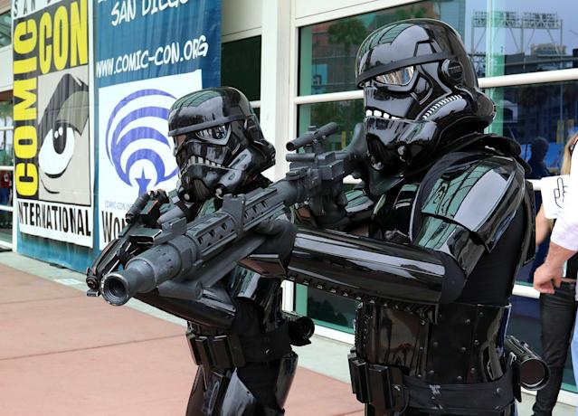 <p>Cosplayers dressed as Stormtroopers at Comic-Con International on July 20 in San Diego. (Photo: Angela Kim/Yahoo Entertainment) </p>