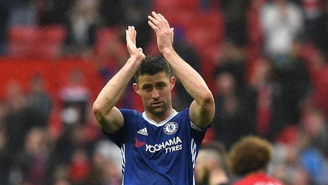 Chelsea defender Gary Cahill has defended his decision to help Manchester United forward Jesse Lingard up off the floor, moments before Ander Herrera scored the Red Devils' second goal on Sunday. The 2-0 defeat at Old Trafford appears to have let Tottenham back into the title race and the Blues have received plenty of criticism for an insipid performance that saw them fail to muster a single shot on target. Gary Cahill was helping Jesse Lingard up in build up to Man Utd's second goal... but...