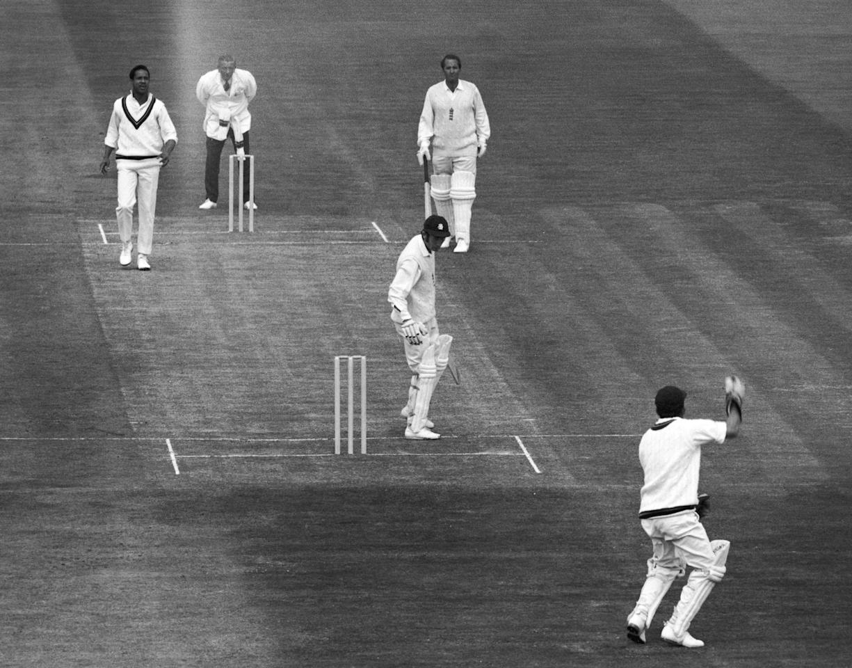 Keith Fletcher is caught by Murray, bowled by the West Indies' Gary Sobers during England's first innings in the third test at Edgbaston, 16th July 1970. (Photo by Dennis Oulds & Leonard Burt/Central Press/Hulton Archive/Getty Images)