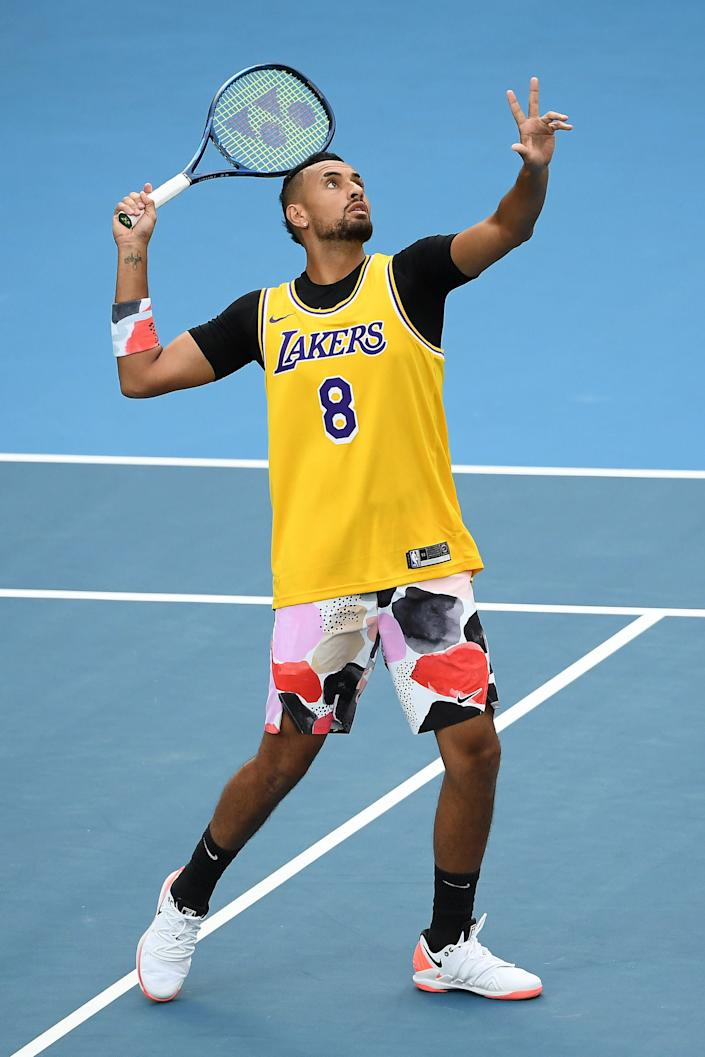 Nick Kyrgios warms up in a Kobe Bryant jersey during the Australian Open on Jan. 27.