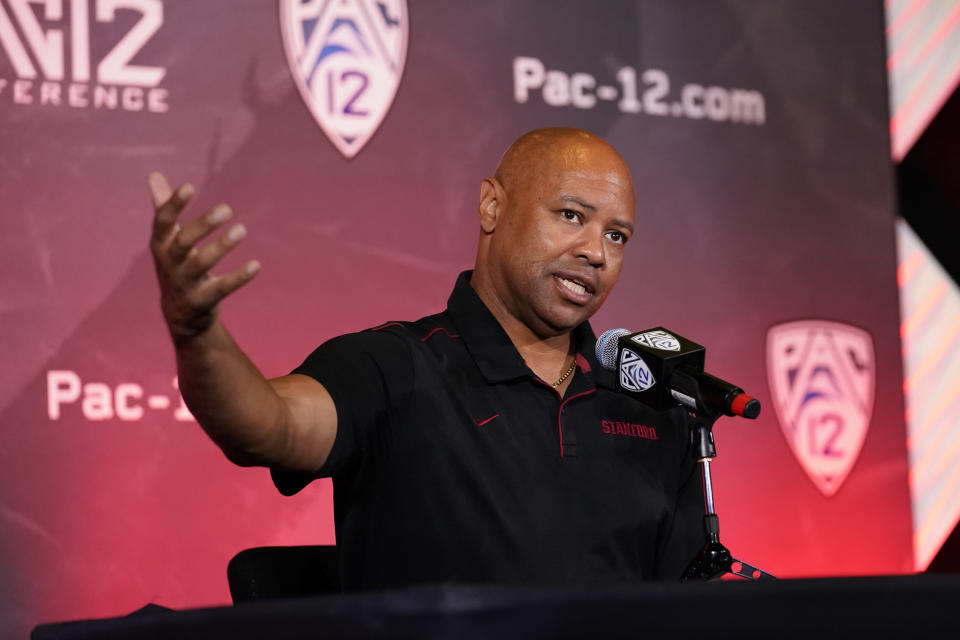 Stanford head coach David Shaw fields questions during the Pac-12 Conference NCAA college football Media Day Tuesday, July 27, 2021, in Los Angeles. (AP Photo/Marcio Jose Sanchez)