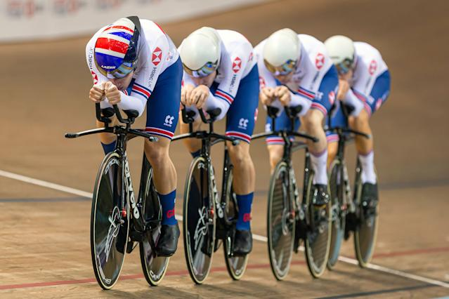 Charlie Tanfield, Ethan Hayter, Ollie Wood and Ed Clancy of Great Britain in action during the Men's Team Pursuit first round