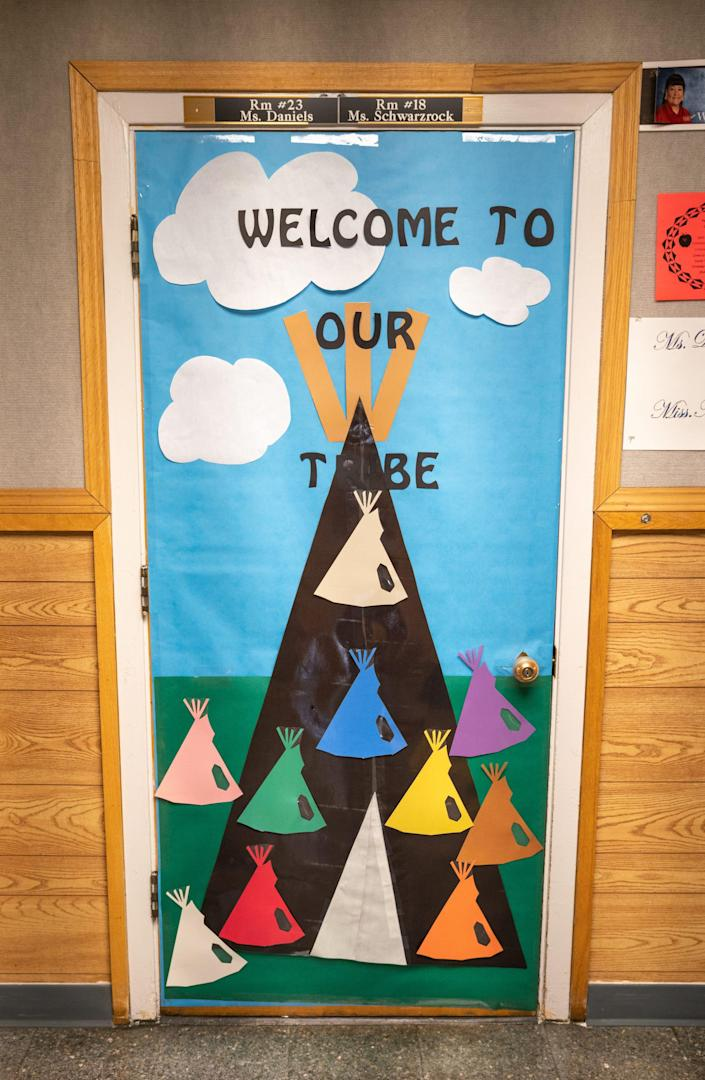 Kindergarten teacher Shari Daniels, who is Dakota Sioux, tries to include the different tribal cultures and languages of her students in the classroom.