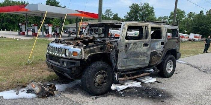 Hummer that caught fire in Citrus County, Florida