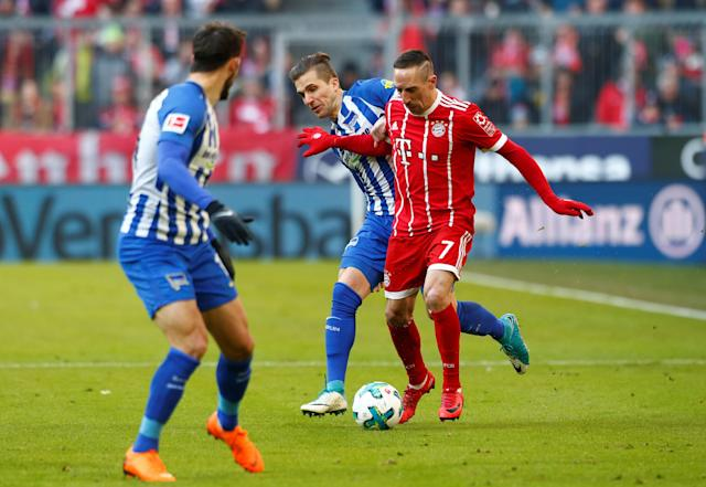 Soccer Football - Bundesliga - Bayern Munich vs Hertha BSC - Allianz Arena, Munich, Germany - February 24, 2018 Bayern Munich's Franck Ribery in action with Hertha Berlin's Peter Pekarik REUTERS/Michaela Rehle DFL RULES TO LIMIT THE ONLINE USAGE DURING MATCH TIME TO 15 PICTURES PER GAME. IMAGE SEQUENCES TO SIMULATE VIDEO IS NOT ALLOWED AT ANY TIME. FOR FURTHER QUERIES PLEASE CONTACT DFL DIRECTLY AT + 49 69 650050