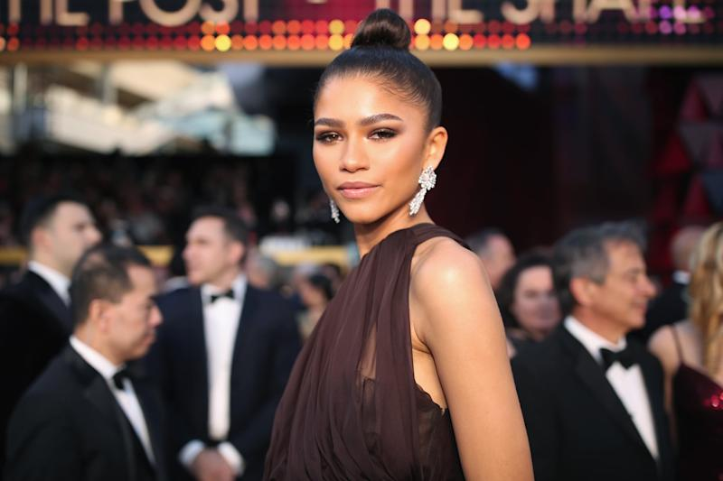 HOLLYWOOD, CA - MARCH 04: Zendaya, wearing August Getty Atelier, attends the 90th Annual Academy Awards at Hollywood & Highland Center on March 4, 2018 in Hollywood, California. (Photo by Christopher Polk/Getty Images)