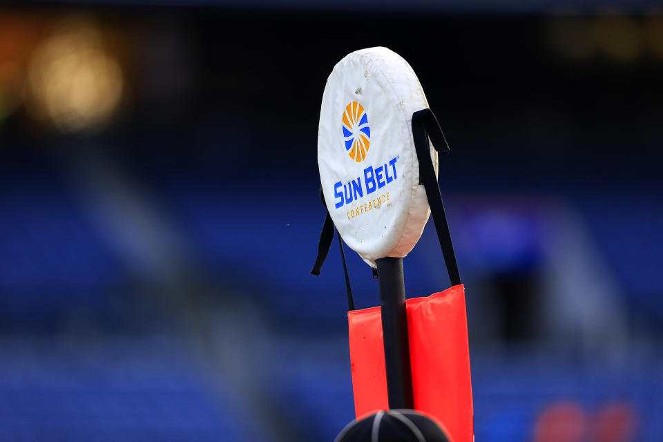 ATLANTA, GA - NOVEMBER 23:  A sideline marker with the Sun Belt logo during the college football game between the South Alabama Jaguars and the Georgia State Panthers on November 23, 2019 at Georgia State Stadium in Atlanta, Georgia.  (Photo by David John Griffin/Icon Sportswire via Getty Images)