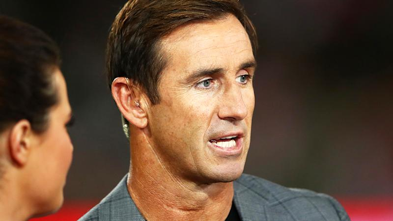 Andrew Johns, pictured here before an NRL match in 2019.
