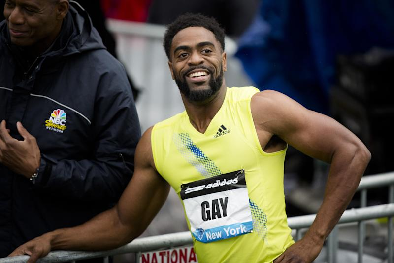 FILE - In a May 25, 2013, file photo Tyson Gay reacts after winning the Men's 100m during the IAAF Diamond League Grand Prix competition in New York. Gay was informed Friday July 12, 2013, he has tested positive for a banned substance and says he will pull out of the world championships next month in Moscow. (AP Photo/John Minchillo/file)