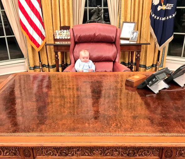 Luke testing out the big seat. Photo: Instagram/Erictrump