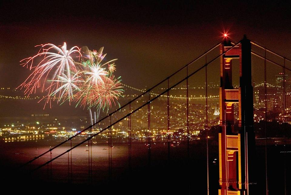 """<p><strong>San Francisco, California</strong></p><p>Fireworks will light up the Golden Gate Bridge and San Francisco Bay this Independence Day from <a href=""""https://www.fireworkscalendar.com/san-francisco/#fourth-of-july"""" rel=""""nofollow noopener"""" target=""""_blank"""" data-ylk=""""slk:Pier 39"""" class=""""link rapid-noclick-resp"""">Pier 39</a>. Watch for free from the waterfront or purchase tickets for a fireworks cruise offered by a local vessel.<br></p>"""