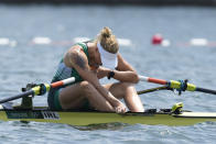 Sanita Puspure of Ireland reacts after competing in the women's rowing single sculls semifinal at the 2020 Summer Olympics, Thursday, July 29, 2021, in Tokyo, Japan. (AP Photo/Darron Cummings