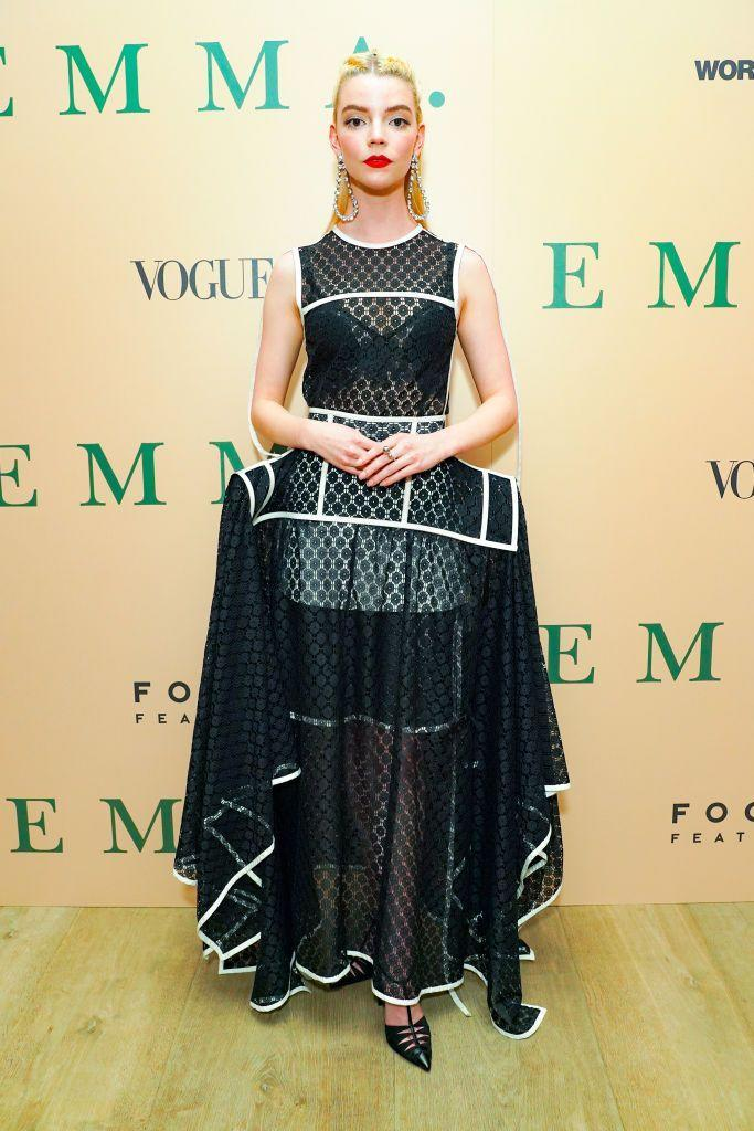 <p>The Emma star wore a Loewe monochrome dress for the screening. </p>