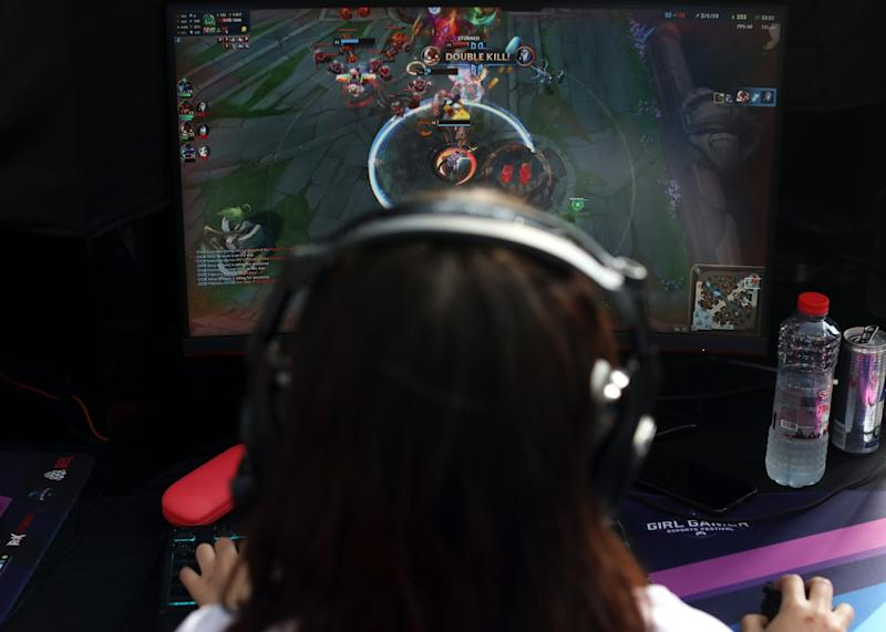A member of Team OOB in action during the League of Legends World Finals at the Girl Gamer Esports Festival in Dubai in February.