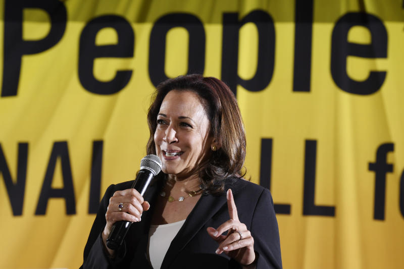 Democratic presidential candidate Sen. Kamala Harris, D-Calif., speaks at the Poor People's Moral Action Congress presidential forum in Washington, Monday, June 17, 2019. (AP Photo/Susan Walsh)