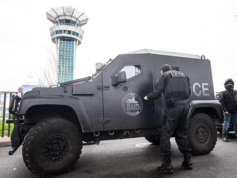 Members of French anti-terrorist force RAID at Orly airport, near Paris, France (EPA)