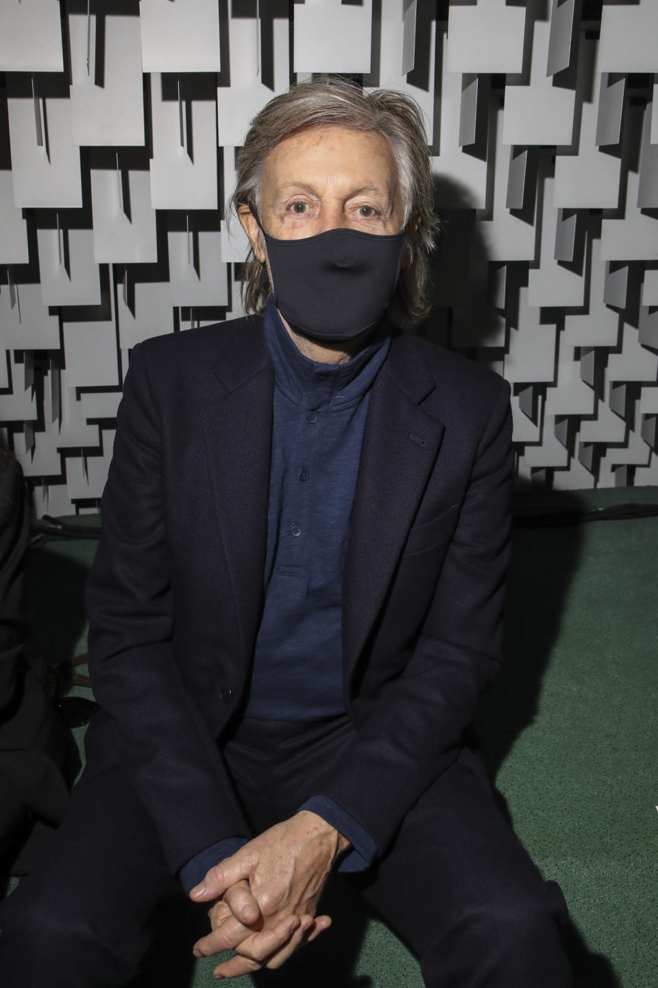 Paul McCartney attends the Stella McCartney Spring-Summer 2022 ready-to-wear fashion show presented in Paris, Monday, Oct. 4, 2021. (Photo by Vianney Le Caer/Invision/AP)