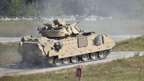 PHOTO: A Bradley Fighting Vehicle during a training session at Fort Stewart in Georgia, Sept. 25, 2019. (U.S. Army)
