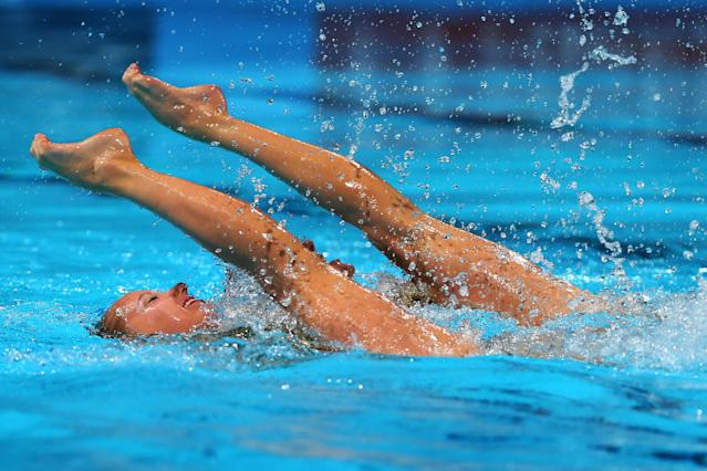 BARCELONA, SPAIN - JULY 21: Chloe Isaac and Karine Thomas of Canada compete in the Synchronized Swimming Duet Technical final on day two of the 15th FINA World Championships at Palau Sant Jordi on July 21, 2013 in Barcelona, Spain. (Photo by Alexander Hassenstein/Getty Images)