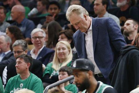 FILE PHOTO: Apr 17, 2019; Boston, MA, USA; Former Boston Celtics player Larry Bird in the stands during the first half in game two of the first round of the 2019 NBA Playoffs against the Indiana Pacers at TD Garden. Mandatory Credit: Greg M. Cooper-USA TODAY Sports