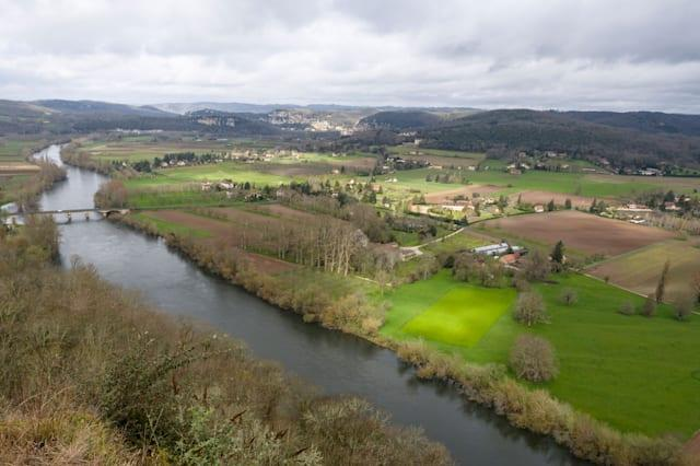 Countryside around Domme. The view from the village of Domme, high above the Lot river. Domme, Lot-et-Garonne, France