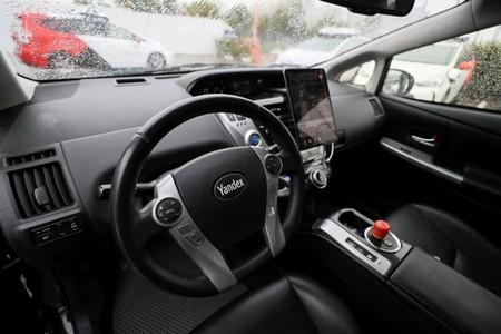A view shows self-driving cars tested by Yandex company in Moscow