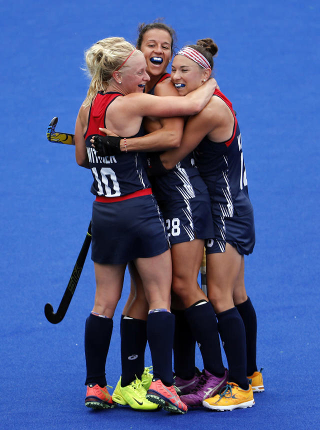 <p>Players of the United States team celebrate after scoring against Australia during a women's field hockey match at the 2016 Summer Olympics in Rio de Janeiro, Brazil, Monday, Aug. 8, 2016. (AP Photo/Dario Lopez-Mills) </p>
