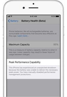 how to turn off iphone performance throttling in ios 11 3