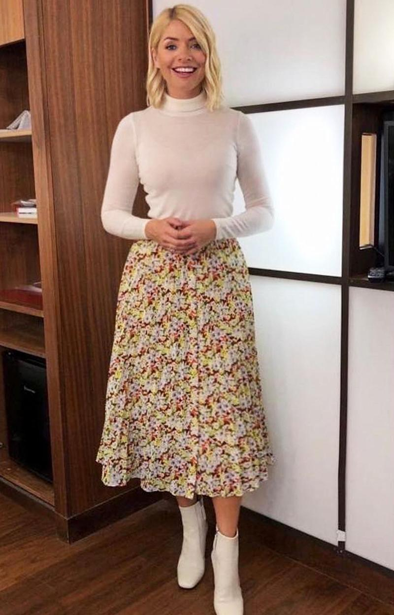 7045aea8ff7be Style Notes: Classic style doesn't have to be minimal, as Holly Willoughby  proves. Consider neutralising a floral-print midi skirt with a cream  roll-neck.