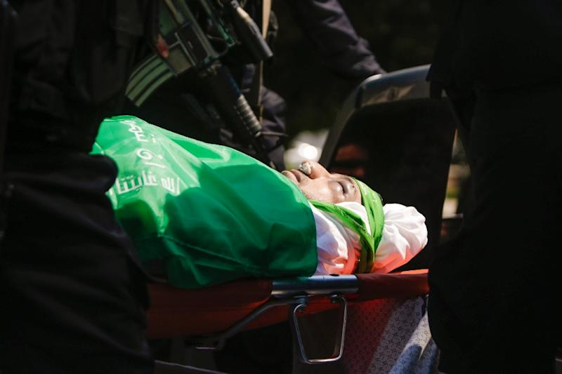 The body of Hamas military commander Mazen Faqha pictured during his funeral in Gaza City on March 25, 2017