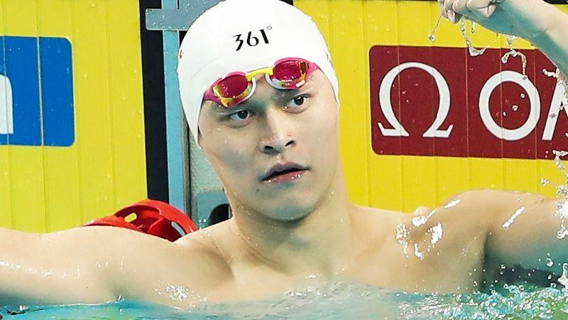 Pictured here, banned Chinese swimmer Sun Yang.