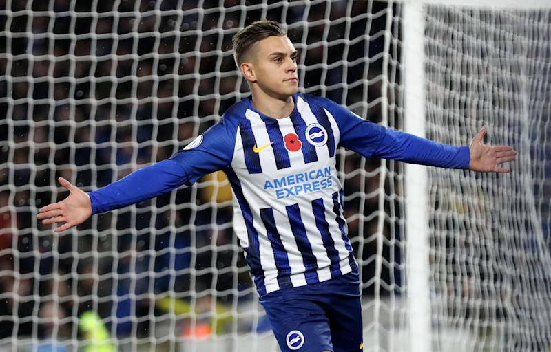 Brighton and Hove Albion's Leandro Trossard celebrates scoring his side's first goal of the game during the Premiership match at The AMEX Stadium, Brighton. (Photo by Gareth Fuller/PA Images via Getty Images)