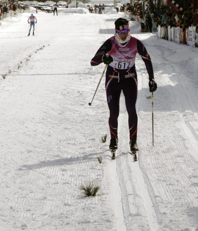 Natalja Naryshkina, of Cable, Wis., skates in the American Birkebeiner, in the the 54k Birkie Classic race, in Hayward, Wis., on Saturday, Feb. 22, 2014. Naryshkina finished with a time of 3:26:00.6. (AP Photo/Paul M. Walsh)