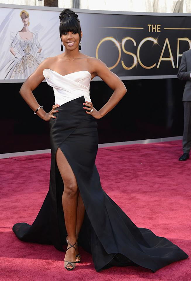 Kelly Rowland arrives at the Oscars in Hollywood, California, on February 24, 2013.