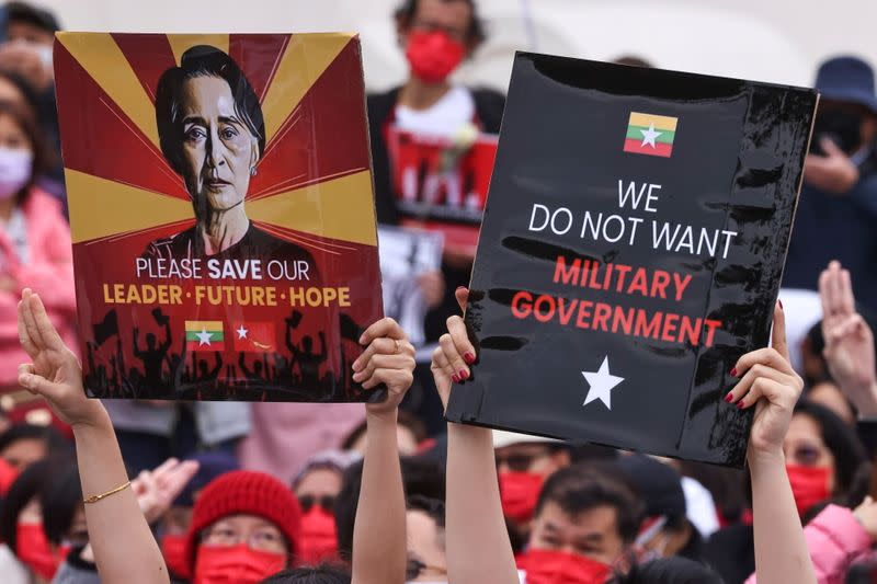 People gather to denounce the Myanmar military coup in Taipei