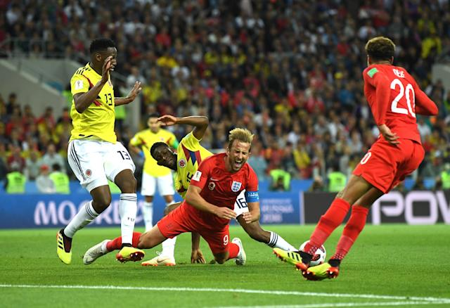 <p>Harry Kane of England is fouled by Jefferson Lerma of Colombia outside Colombia penalty area during the 2018 FIFA World Cup Russia Round of 16 match between Colombia and England at Spartak Stadium on July 3, 2018 in Moscow, Russia. (Photo by David Ramos – FIFA/FIFA via Getty Images) </p>